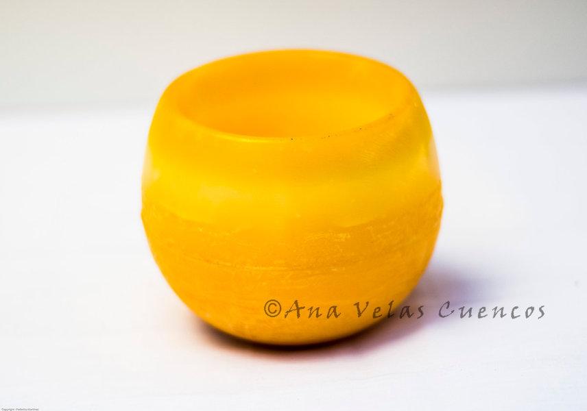 Cuenco aromático de parafina de forma redonda aroma a citronela color naranja
