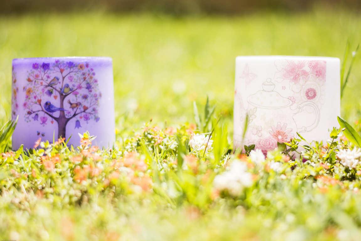 Dos cuencos de parafina color lila y blanco con dibujos apoyados sobre la hierva