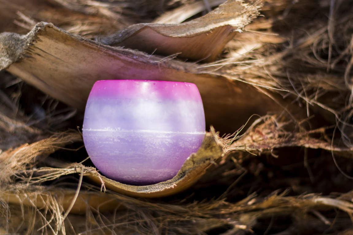 Cuenco redondo de parafina en tonos lilas y rosa sobre cortezas secas de palmera