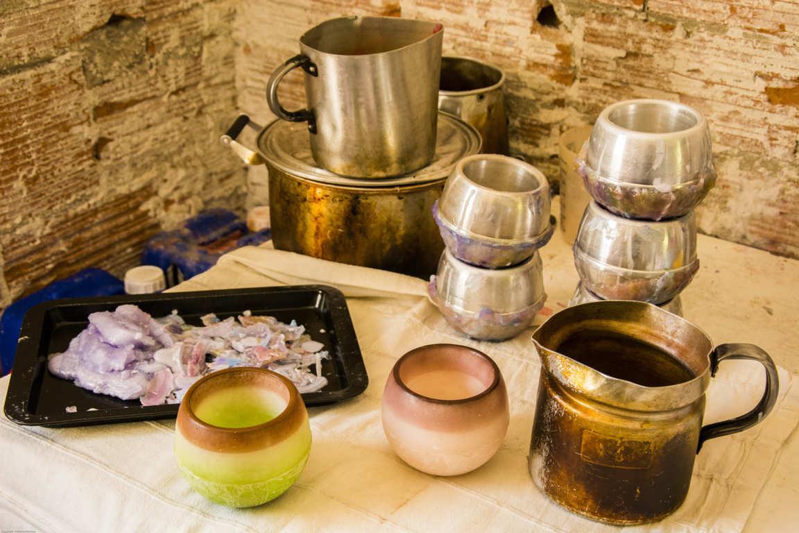 Utensilios para elaboración en taller de cuencos de parafina ollas de cocción